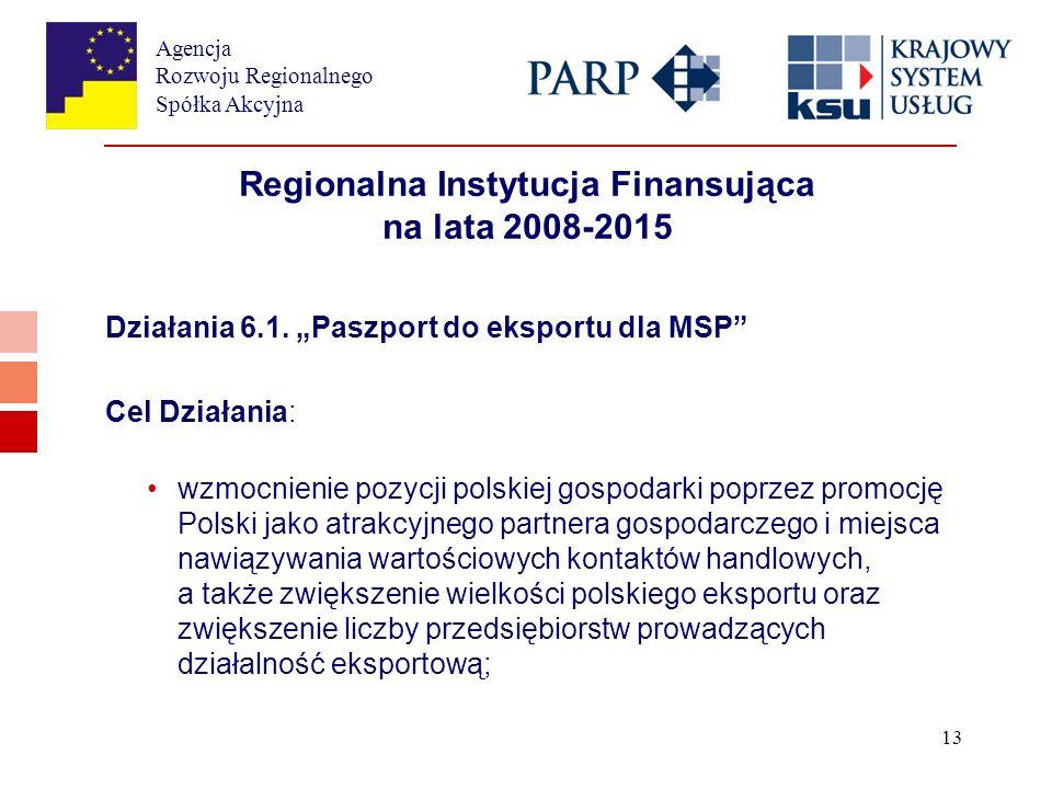 Agencja Rozwoju Regionalnego Spółka Akcyjna 13 Regionalna Instytucja Finansująca na lata 2008-2015 Działania 6.1.