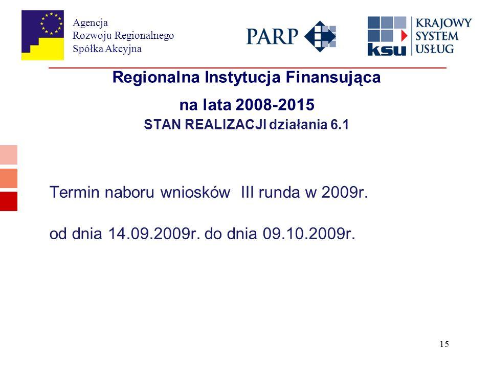 Agencja Rozwoju Regionalnego Spółka Akcyjna 15 Regionalna Instytucja Finansująca na lata 2008-2015 STAN REALIZACJI działania 6.1 Termin naboru wniosków III runda w 2009r.