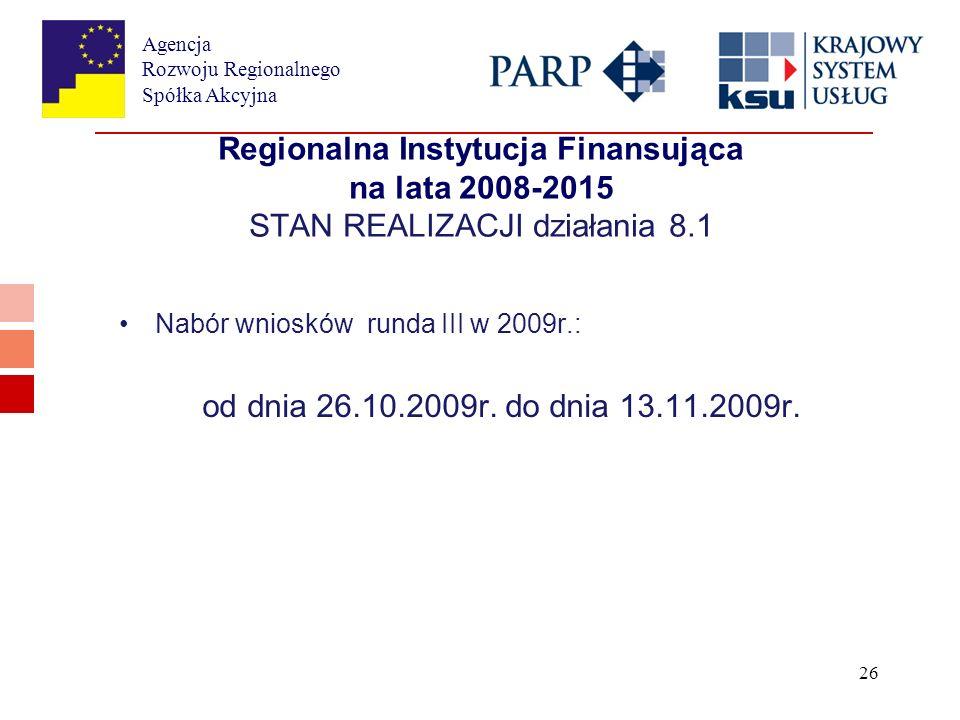 Agencja Rozwoju Regionalnego Spółka Akcyjna 26 Regionalna Instytucja Finansująca na lata 2008-2015 STAN REALIZACJI działania 8.1 Nabór wniosków runda III w 2009r.: od dnia 26.10.2009r.