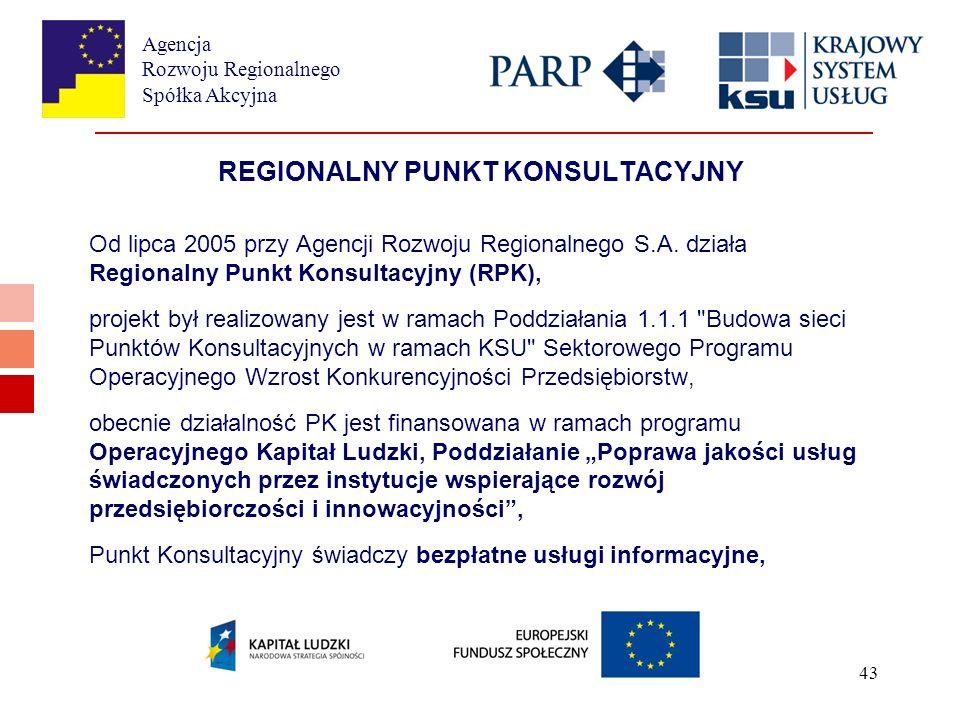 Agencja Rozwoju Regionalnego Spółka Akcyjna 43 REGIONALNY PUNKT KONSULTACYJNY Od lipca 2005 przy Agencji Rozwoju Regionalnego S.A.
