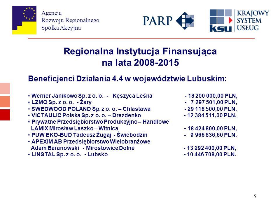 Agencja Rozwoju Regionalnego Spółka Akcyjna 5 Regionalna Instytucja Finansująca na lata 2008-2015 Beneficjenci Działania 4.4 w województwie Lubuskim: Werner Janikowo Sp.