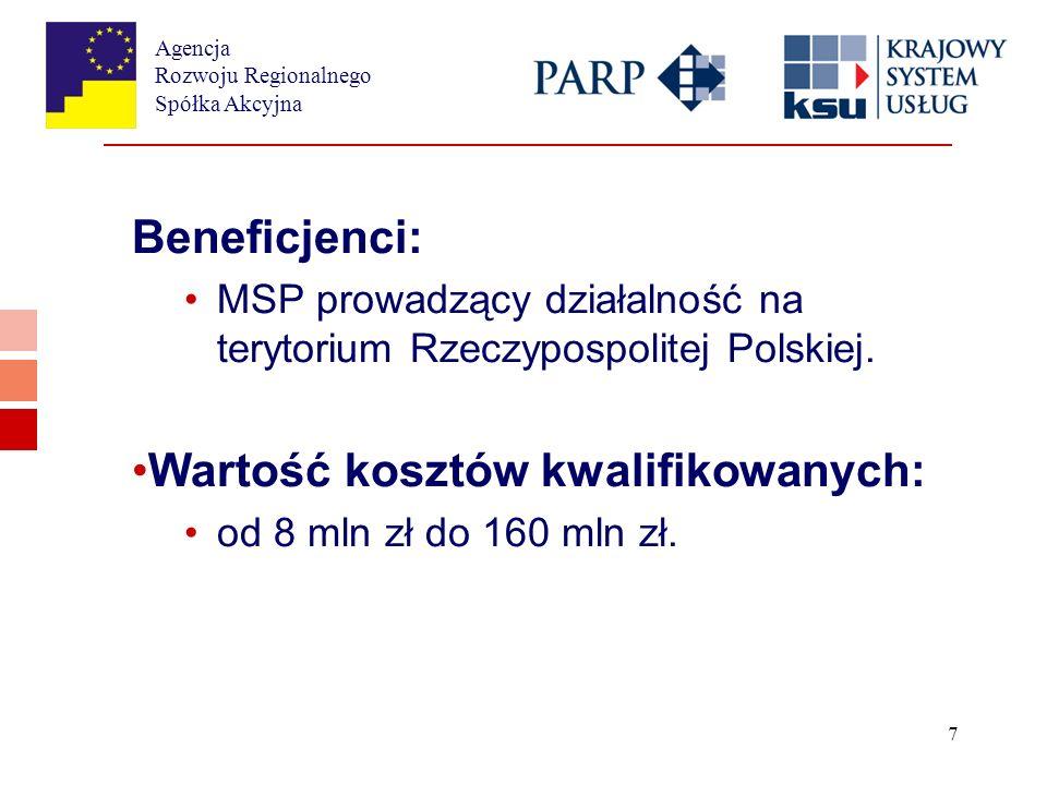 Agencja Rozwoju Regionalnego Spółka Akcyjna 7 Beneficjenci: MSP prowadzący działalność na terytorium Rzeczypospolitej Polskiej.