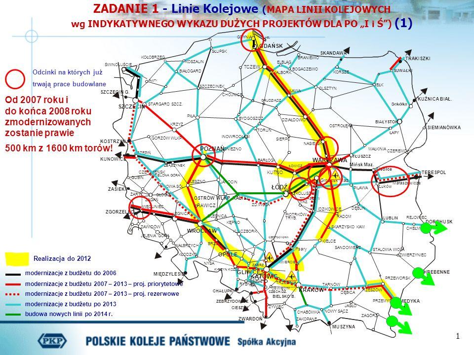 1 ZADANIE 1 - Linie Kolejowe (MAPA LINII KOLEJOWYCH wg INDYKATYWNEGO WYKAZU DUŻYCH PROJEKTÓW DLA PO I i Ś) (1) modernizacje z budżetu do 2006 moderniz