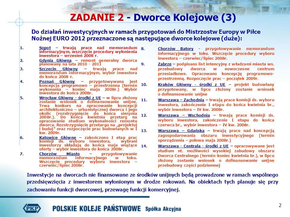 2 ZADANIE 2 - Dworce Kolejowe (3) Do działań inwestycyjnych w ramach przygotowań do Mistrzostw Europy w Piłce Nożnej EURO 2012 przeznaczone są następu