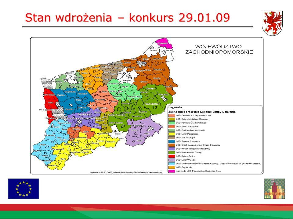 Budżet LGD * realizacja LSR 88 417 194,40 PLN na lata 2007-2013 (środki zostaną podzielone na 8 lat do roku 2015) Podział kosztów: 25 454 710 PLN na projekty mikro przedsiębiorczości 38 084 696 PLN na projekty odnowy wsi 24 877 788 PLN na małe projekty * Według wniosków złożonych 29.01.09