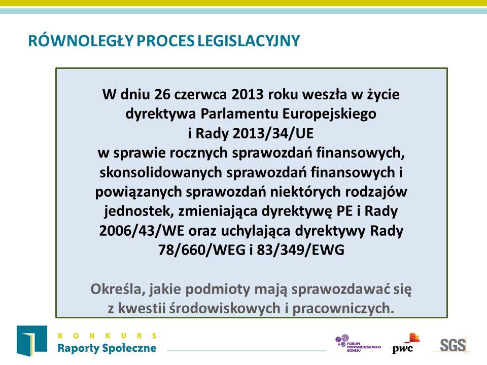 RÓWNOLEGŁY PROCES LEGISLACYJNY W dniu 26 czerwca 2013 roku weszła w życie dyrektywa Parlamentu Europejskiego i Rady 2013/34/UE w sprawie rocznych sprawozdań finansowych, skonsolidowanych sprawozdań finansowych i powiązanych sprawozdań niektórych rodzajów jednostek, zmieniająca dyrektywę PE i Rady 2006/43/WE oraz uchylająca dyrektywy Rady 78/660/WEG i 83/349/EWG Określa, jakie podmioty mają sprawozdawać się z kwestii środowiskowych i pracowniczych.