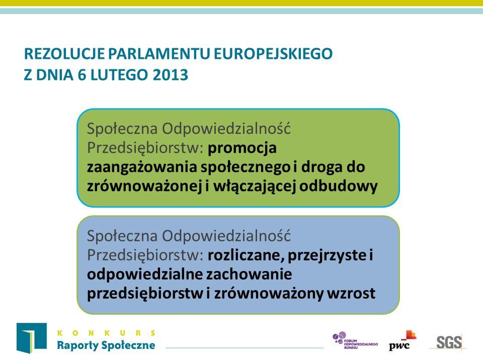 REZOLUCJE PARLAMENTU EUROPEJSKIEGO Z DNIA 6 LUTEGO 2013 Społeczna Odpowiedzialność Przedsiębiorstw: promocja zaangażowania społecznego i droga do zrównoważonej i włączającej odbudowy Społeczna Odpowiedzialność Przedsiębiorstw: rozliczane, przejrzyste i odpowiedzialne zachowanie przedsiębiorstw i zrównoważony wzrost