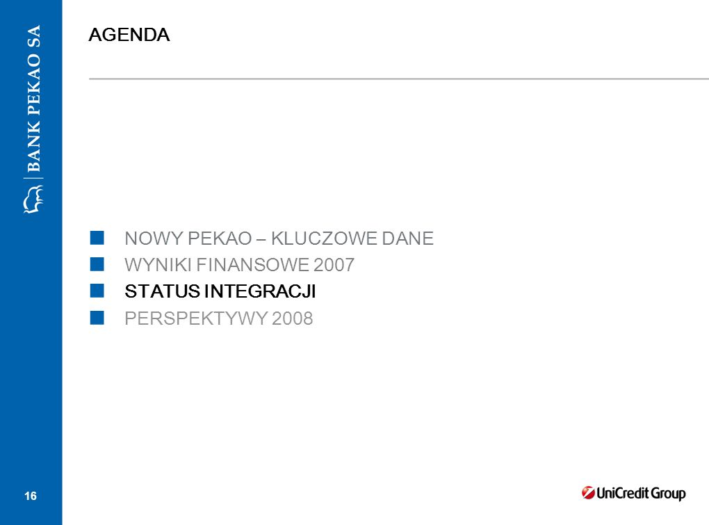 16 AGENDA NOWY PEKAO – KLUCZOWE DANE WYNIKI FINANSOWE 2007 STATUS INTEGRACJI PERSPEKTYWY 2008