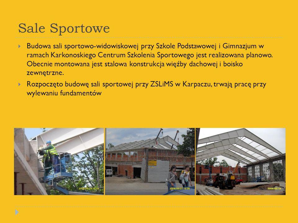 Sale Sportowe Budowa sali sportowo-widowiskowej przy Szkole Podstawowej i Gimnazjum w ramach Karkonoskiego Centrum Szkolenia Sportowego jest realizowana planowo.