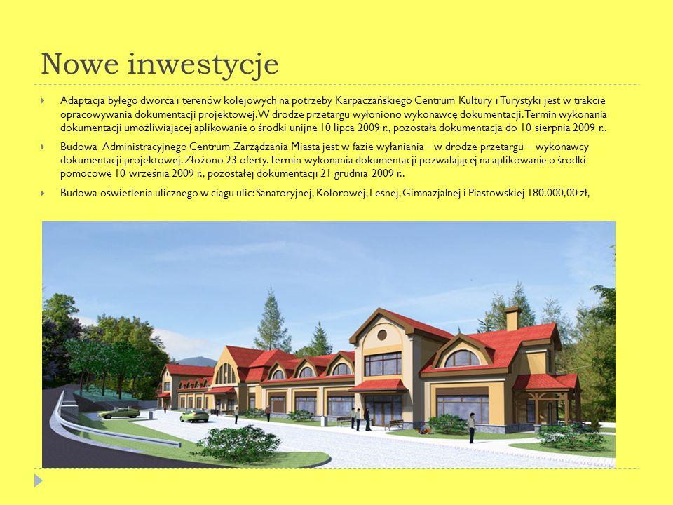 Nowe inwestycje Adaptacja byłego dworca i terenów kolejowych na potrzeby Karpaczańskiego Centrum Kultury i Turystyki jest w trakcie opracowywania dokumentacji projektowej.