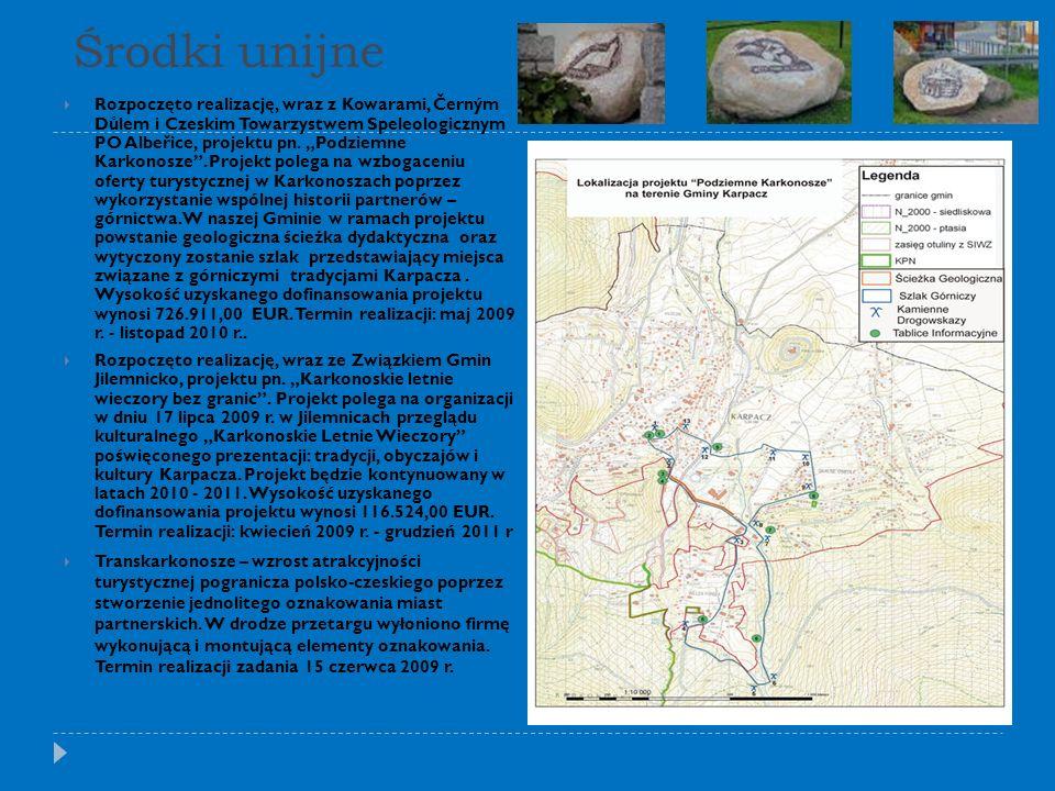 Środki unijne Rozpoczęto realizację, wraz z Kowarami, Černým Důlem i Czeskim Towarzystwem Speleologicznym PO Albeřice, projektu pn.