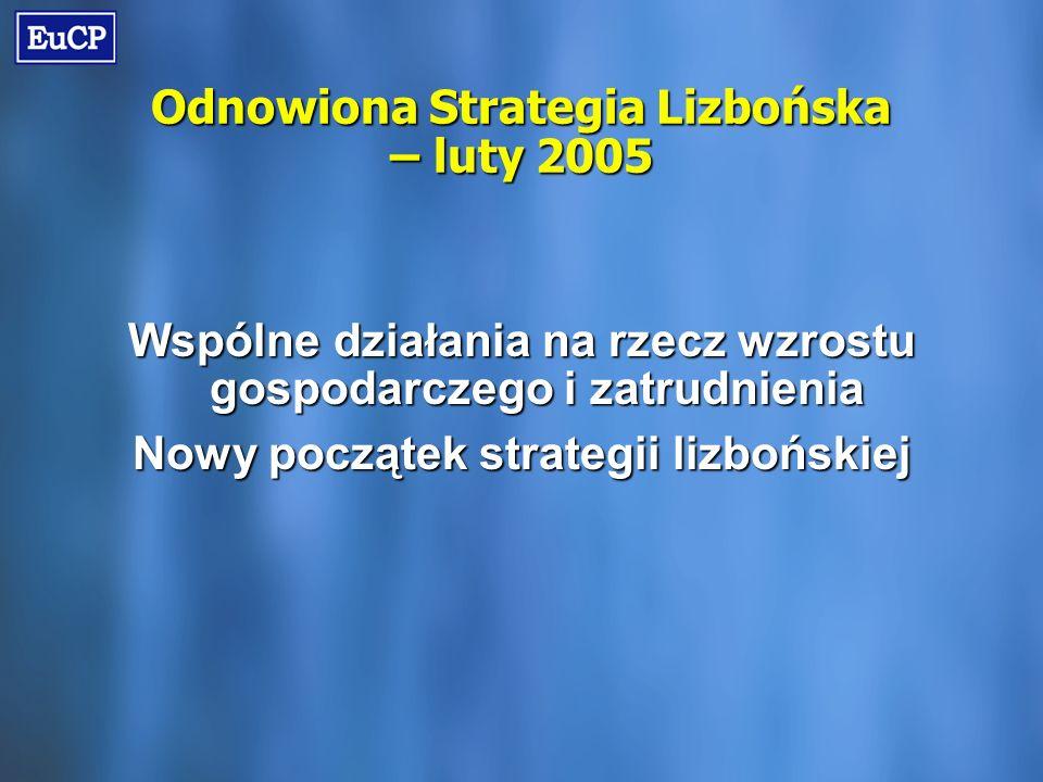 Odnowiona Strategia Lizbońska – luty 2005 Wspólne działania na rzecz wzrostu gospodarczego i zatrudnienia Nowy początek strategii lizbońskiej