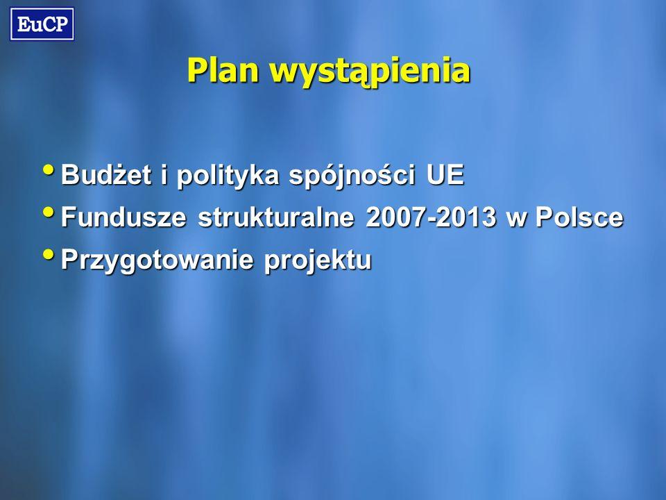 Plan wystąpienia Budżet i polityka spójności UE Budżet i polityka spójności UE Fundusze strukturalne 2007-2013 w Polsce Fundusze strukturalne 2007-2013 w Polsce Przygotowanie projektu Przygotowanie projektu