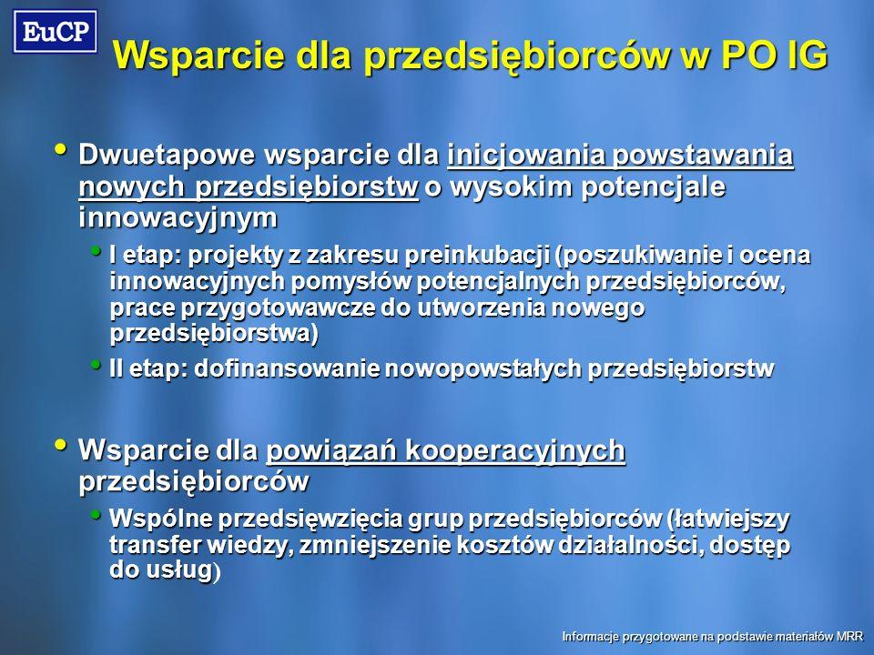 Wsparcie dla przedsiębiorców w PO IG Dwuetapowe wsparcie dla inicjowania powstawania nowych przedsiębiorstw o wysokim potencjale innowacyjnym Dwuetapowe wsparcie dla inicjowania powstawania nowych przedsiębiorstw o wysokim potencjale innowacyjnym I etap: projekty z zakresu preinkubacji (poszukiwanie i ocena innowacyjnych pomysłów potencjalnych przedsiębiorców, prace przygotowawcze do utworzenia nowego przedsiębiorstwa) I etap: projekty z zakresu preinkubacji (poszukiwanie i ocena innowacyjnych pomysłów potencjalnych przedsiębiorców, prace przygotowawcze do utworzenia nowego przedsiębiorstwa) II etap: dofinansowanie nowopowstałych przedsiębiorstw II etap: dofinansowanie nowopowstałych przedsiębiorstw Wsparcie dla powiązań kooperacyjnych przedsiębiorców Wsparcie dla powiązań kooperacyjnych przedsiębiorców Wspólne przedsięwzięcia grup przedsiębiorców (łatwiejszy transfer wiedzy, zmniejszenie kosztów działalności, dostęp do usług Wspólne przedsięwzięcia grup przedsiębiorców (łatwiejszy transfer wiedzy, zmniejszenie kosztów działalności, dostęp do usług ) Informacje przygotowane na podstawie materiałów MRR