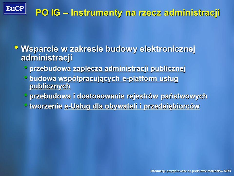 PO IG – Instrumenty na rzecz administracji Wsparcie w zakresie budowy elektronicznej administracji Wsparcie w zakresie budowy elektronicznej administracji przebudowa zaplecza administracji publicznej przebudowa zaplecza administracji publicznej budowa współpracujących e-platform usług publicznych budowa współpracujących e-platform usług publicznych przebudowa i dostosowanie rejestrów państwowych przebudowa i dostosowanie rejestrów państwowych tworzenie e-Usług dla obywateli i przedsiębiorców tworzenie e-Usług dla obywateli i przedsiębiorców Informacje przygotowane na podstawie materiałów MRR