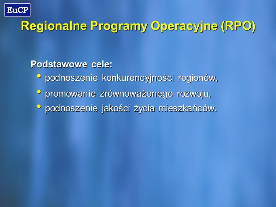 Regionalne Programy Operacyjne (RPO) Podstawowe cele: podnoszenie konkurencyjności regionów, podnoszenie konkurencyjności regionów, promowanie zrównoważonego rozwoju, promowanie zrównoważonego rozwoju, podnoszenie jakości życia mieszkańców.