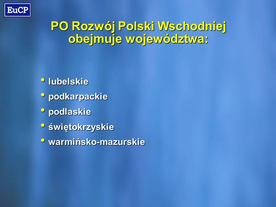 PO Rozwój Polski Wschodniej obejmuje województwa: lubelskie lubelskie podkarpackie podkarpackie podlaskie podlaskie świętokrzyskie świętokrzyskie warmińsko-mazurskie warmińsko-mazurskie