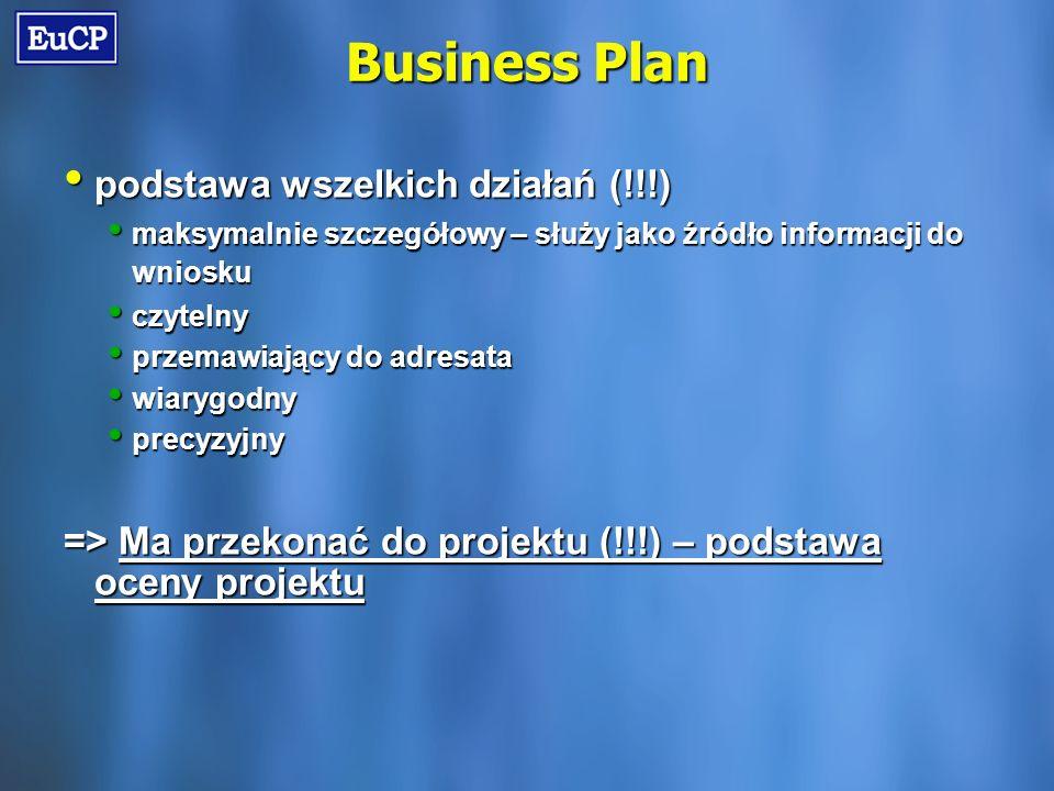 Business Plan podstawa wszelkich działań (!!!) podstawa wszelkich działań (!!!) maksymalnie szczegółowy – służy jako źródło informacji do wniosku maksymalnie szczegółowy – służy jako źródło informacji do wniosku czytelny czytelny przemawiający do adresata przemawiający do adresata wiarygodny wiarygodny precyzyjny precyzyjny => Ma przekonać do projektu (!!!) – podstawa oceny projektu