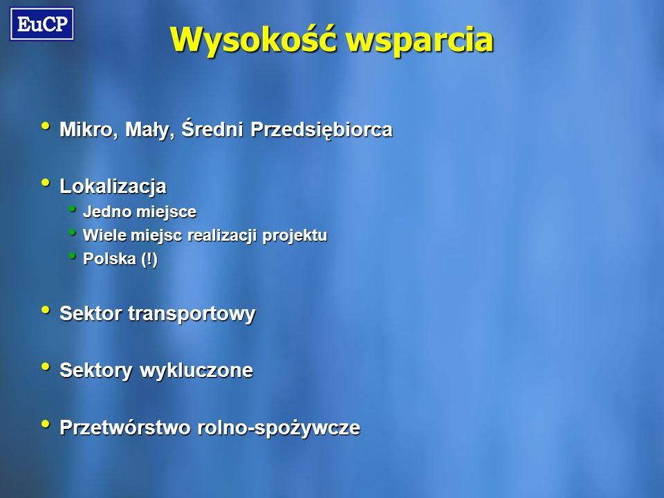 Wysokość wsparcia Mikro, Mały, Średni Przedsiębiorca Mikro, Mały, Średni Przedsiębiorca Lokalizacja Lokalizacja Jedno miejsce Jedno miejsce Wiele miejsc realizacji projektu Wiele miejsc realizacji projektu Polska (!) Polska (!) Sektor transportowy Sektor transportowy Sektory wykluczone Sektory wykluczone Przetwórstwo rolno-spożywcze Przetwórstwo rolno-spożywcze