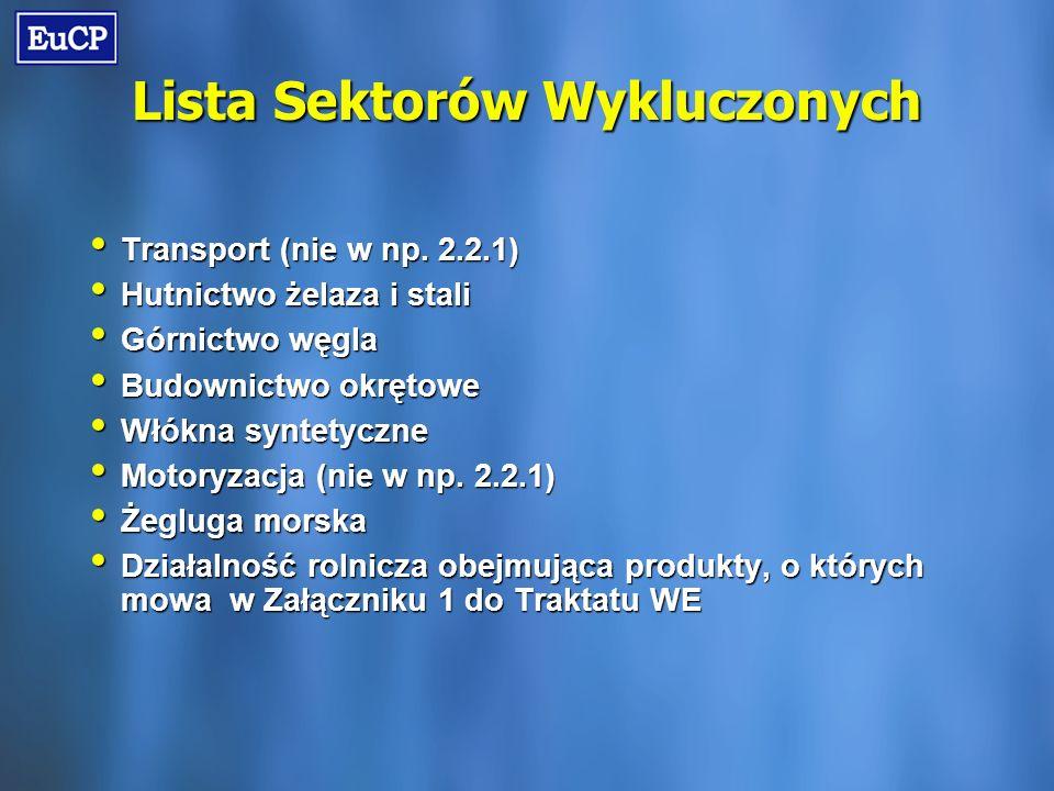 Lista Sektorów Wykluczonych Transport (nie w np. 2.2.1) Transport (nie w np.