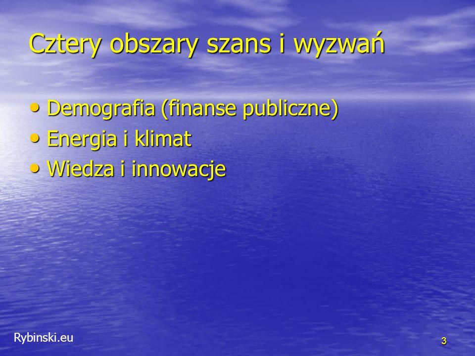 Rybinski.eu Cztery obszary szans i wyzwań Demografia (finanse publiczne) Demografia (finanse publiczne) Energia i klimat Energia i klimat Wiedza i innowacje Wiedza i innowacje 3