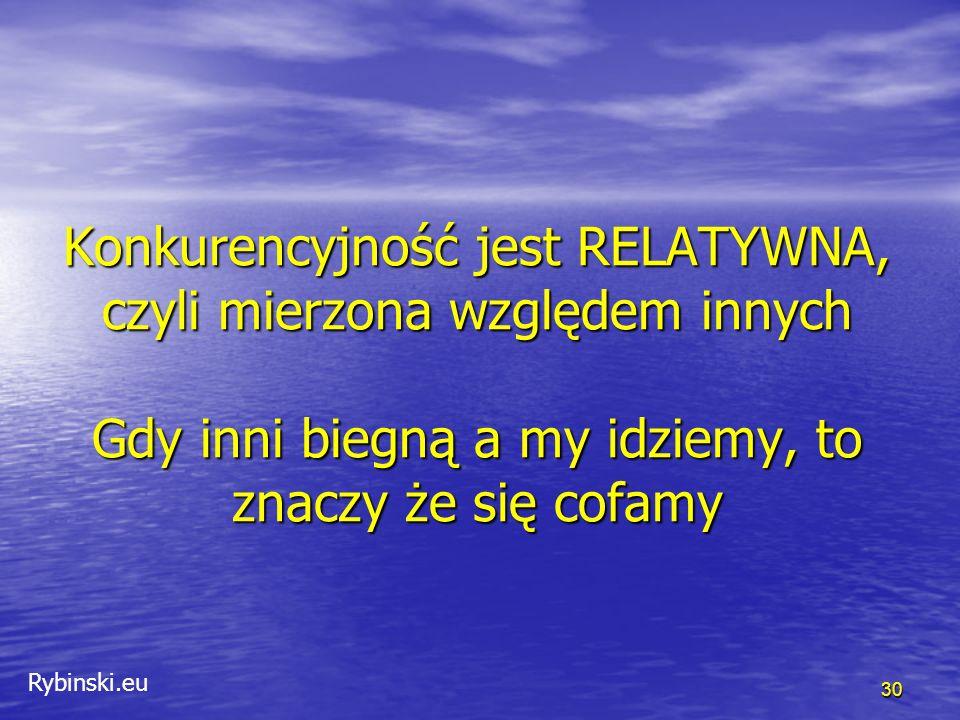 Rybinski.eu Konkurencyjność jest RELATYWNA, czyli mierzona względem innych Gdy inni biegną a my idziemy, to znaczy że się cofamy 30