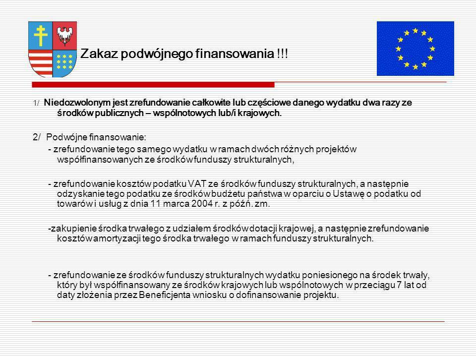 Zakaz podwójnego finansowania !!.