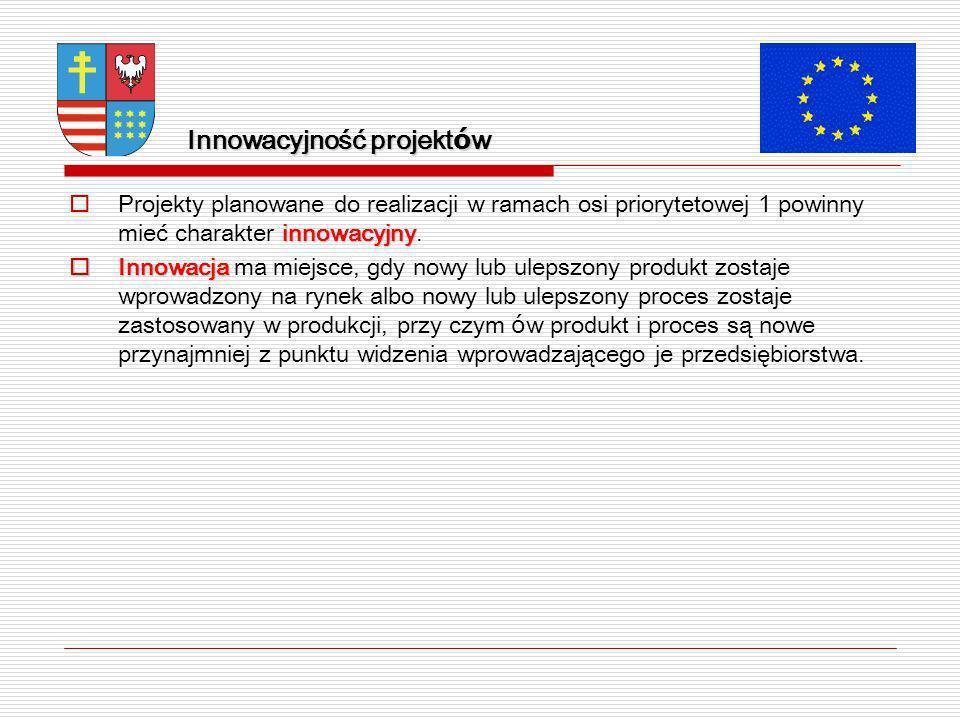 Innowacyjność projekt ó w innowacyjny Projekty planowane do realizacji w ramach osi priorytetowej 1 powinny mieć charakter innowacyjny.