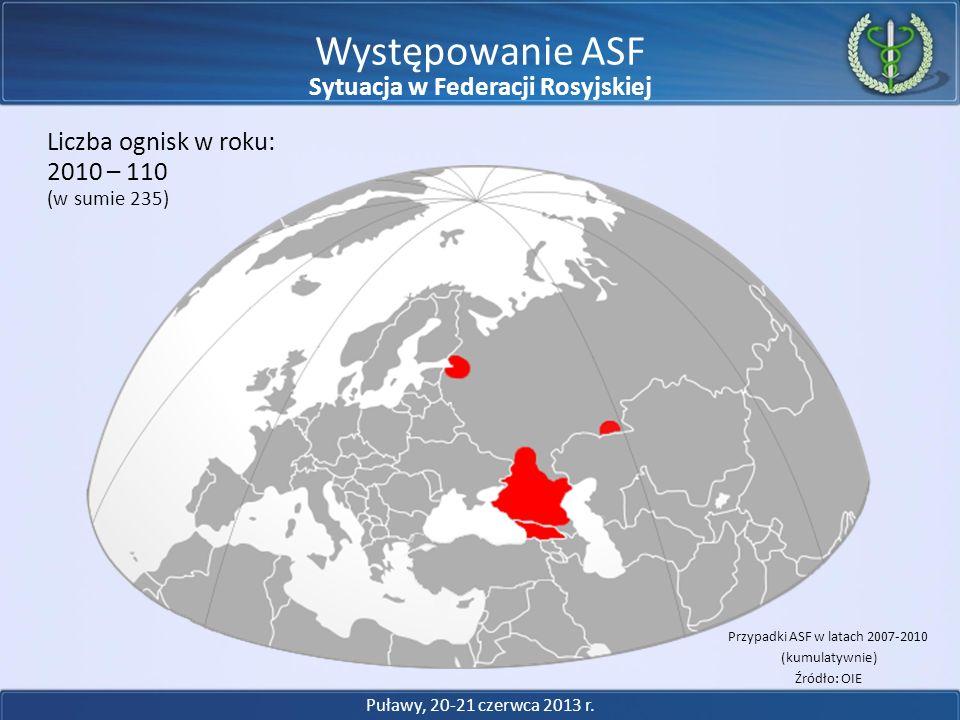 Występowanie ASF Przypadki ASF w latach 2007-2010 (kumulatywnie) Źródło: OIE 2010 – 110 Liczba ognisk w roku: (w sumie 235) Puławy, 20-21 czerwca 2013