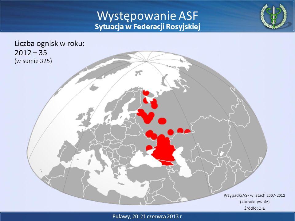 Występowanie ASF 2012 – 35 Liczba ognisk w roku: (w sumie 325) Przypadki ASF w latach 2007-2012 (kumulatywnie) Źródło: OIE Puławy, 20-21 czerwca 2013