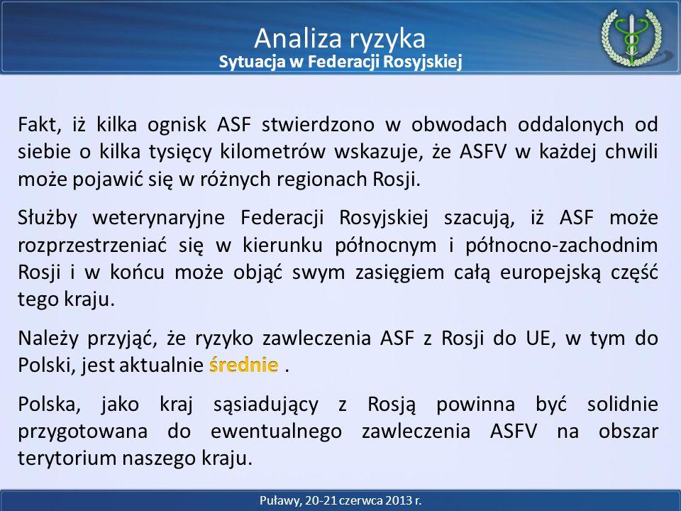 Analiza ryzyka Puławy, 20-21 czerwca 2013 r. Sytuacja w Federacji Rosyjskiej