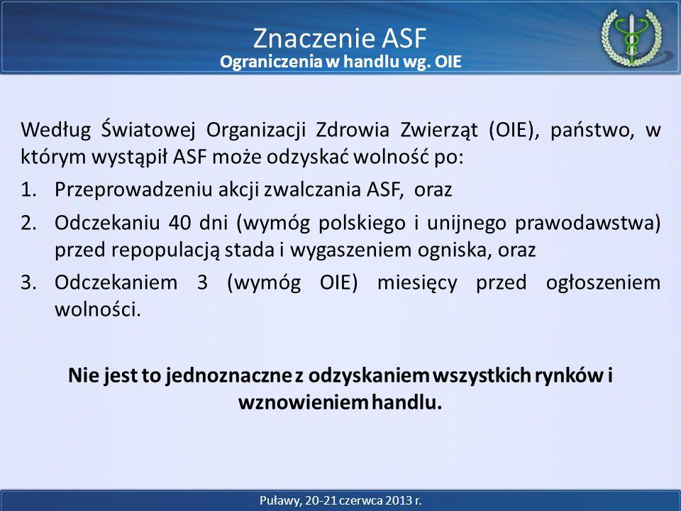 Według Światowej Organizacji Zdrowia Zwierząt (OIE), państwo, w którym wystąpił ASF może odzyskać wolność po: 1.Przeprowadzeniu akcji zwalczania ASF,