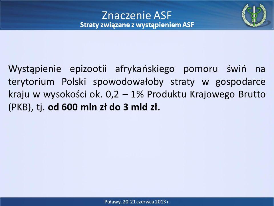 Wystąpienie epizootii afrykańskiego pomoru świń na terytorium Polski spowodowałoby straty w gospodarce kraju w wysokości ok. 0,2 – 1% Produktu Krajowe