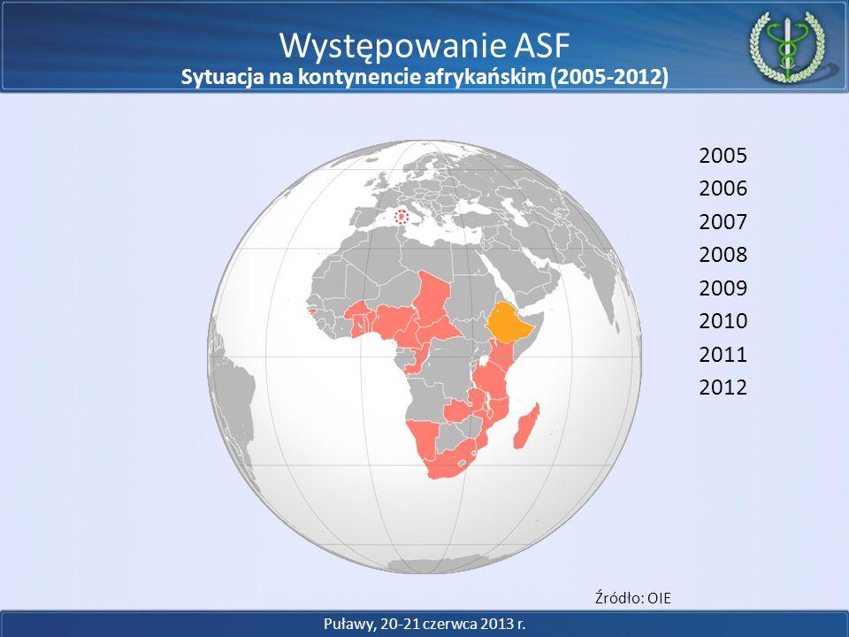 Występowanie ASF 2005 2006 2007 2008 2009 2010 2011 Źródło: OIE 2012 Puławy, 20-21 czerwca 2013 r. Sytuacja na kontynencie afrykańskim (2005-2012)