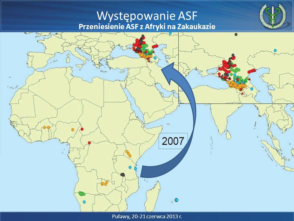 Występowanie ASF Puławy, 20-21 czerwca 2013 r. Choroby nie znają granic Przeniesienie ASF z Afryki na Zakaukazie
