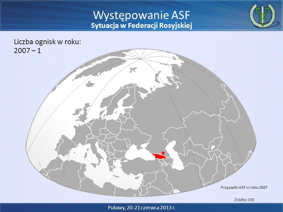 Występowanie ASF 2007 – 1 Liczba ognisk w roku: Przypadki ASF w roku 2007 Źródło: OIE Puławy, 20-21 czerwca 2013 r. Sytuacja w Federacji Rosyjskiej