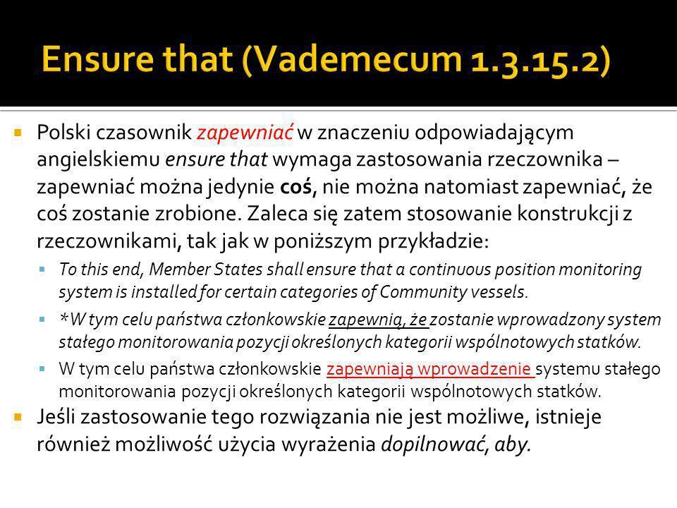 Polski czasownik zapewniać w znaczeniu odpowiadającym angielskiemu ensure that wymaga zastosowania rzeczownika – zapewniać można jedynie coś, nie można natomiast zapewniać, że coś zostanie zrobione.