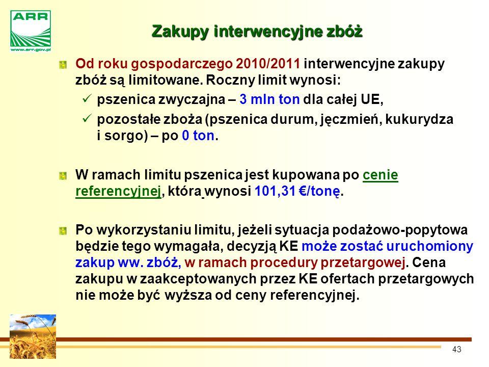 43 Zakupy interwencyjne zbóż Od roku gospodarczego 2010/2011 interwencyjne zakupy zbóż są limitowane.