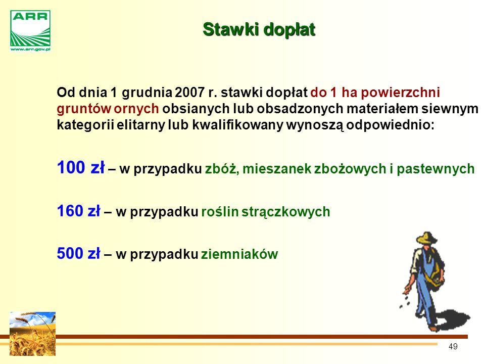 49 Stawki dopłat Od dnia 1 grudnia 2007 r.