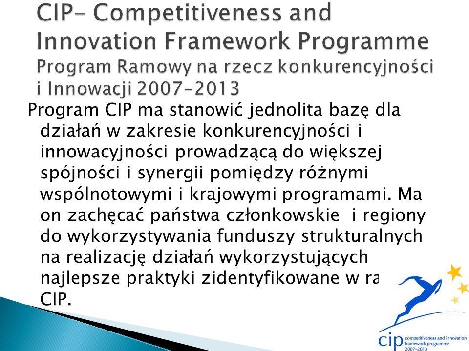 Program CIP ma stanowić jednolita bazę dla działań w zakresie konkurencyjności i innowacyjności prowadzącą do większej spójności i synergii pomiędzy różnymi wspólnotowymi i krajowymi programami.