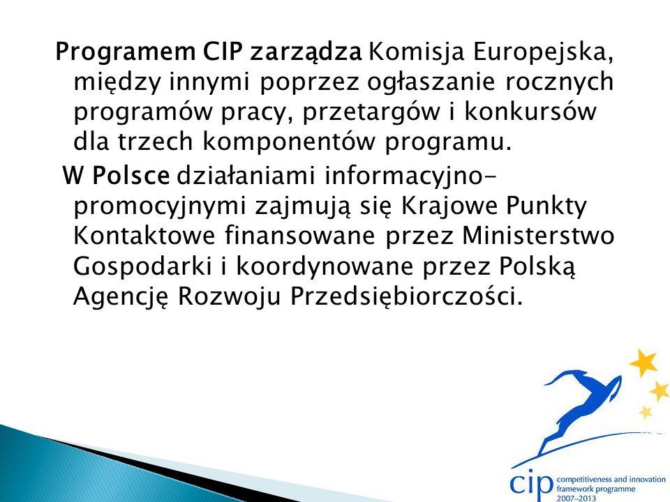 Programem CIP zarządza Komisja Europejska, między innymi poprzez ogłaszanie rocznych programów pracy, przetargów i konkursów dla trzech komponentów programu.