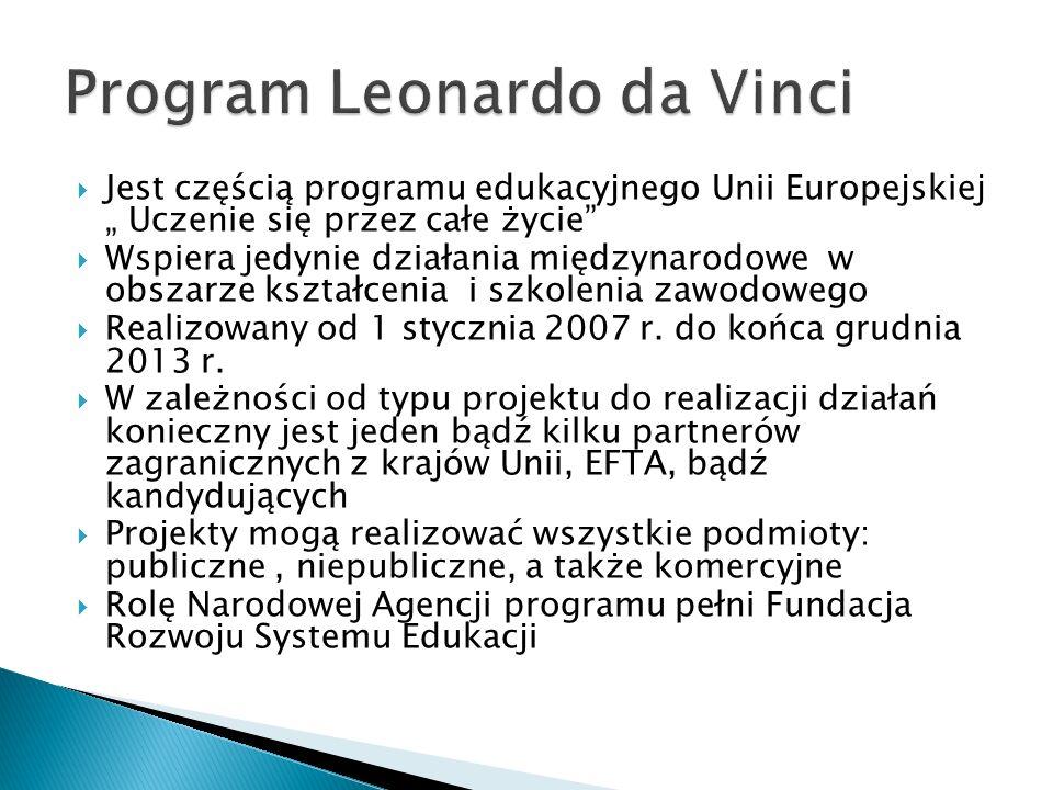 Jest częścią programu edukacyjnego Unii Europejskiej Uczenie się przez całe życie Wspiera jedynie działania międzynarodowe w obszarze kształcenia i szkolenia zawodowego Realizowany od 1 stycznia 2007 r.
