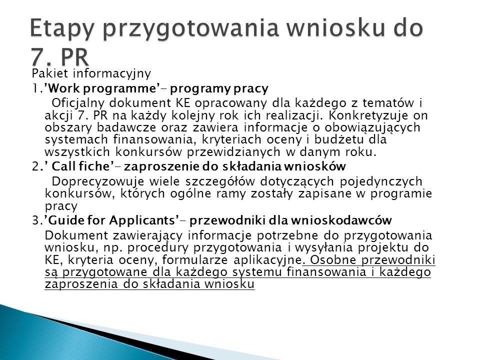 Pakiet informacyjny 1.Work programme- programy pracy Oficjalny dokument KE opracowany dla każdego z tematów i akcji 7.