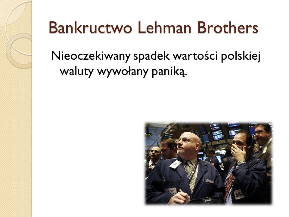 Bankructwo Lehman Brothers Nieoczekiwany spadek wartości polskiej waluty wywołany paniką.