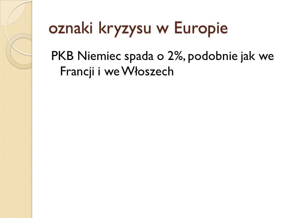 oznaki kryzysu w Europie PKB Niemiec spada o 2%, podobnie jak we Francji i we Włoszech