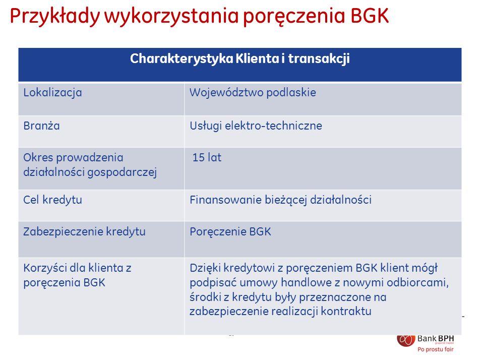 10 Przykłady wykorzystania poręczenia BGK Charakterystyka Klienta i transakcji LokalizacjaWojewództwo podlaskie BranżaUsługi elektro-techniczne Okres