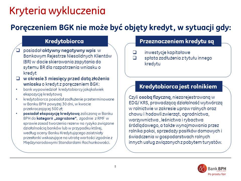 5 Kryteria wykluczenia Poręczeniem BGK nie może być objęty kredyt, w sytuacji gdy: posiadał aktywny negatywny wpis w Bankowym Rejestrze Niesolidnych K