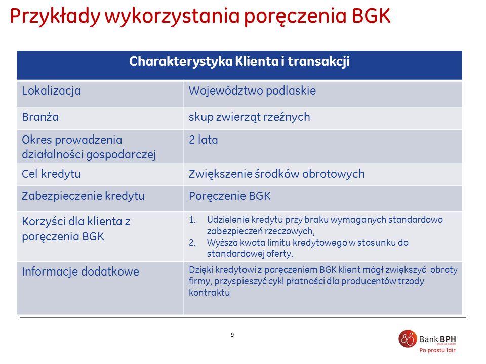 9 Przykłady wykorzystania poręczenia BGK Charakterystyka Klienta i transakcji LokalizacjaWojewództwo podlaskie Branżaskup zwierząt rzeźnych Okres prow