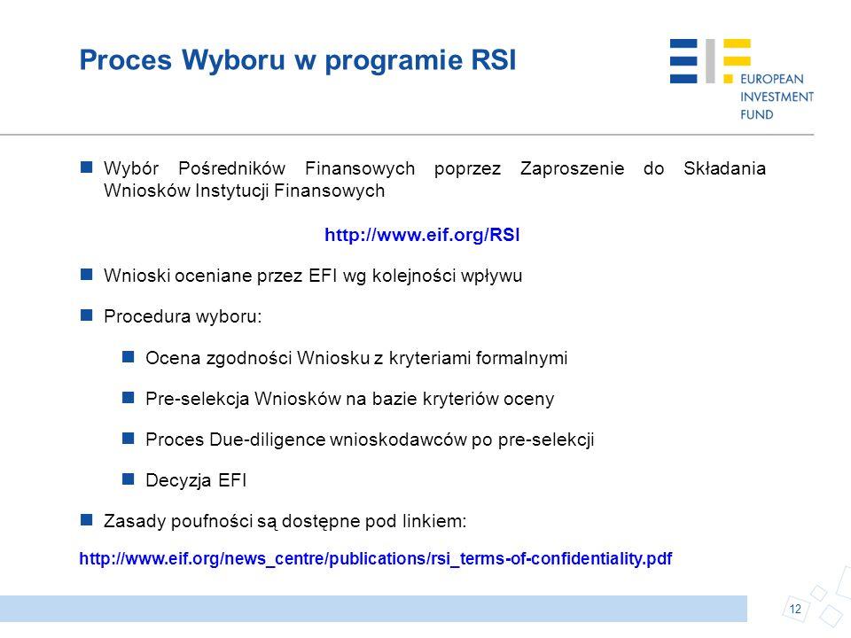 Proces Wyboru w programie RSI Wybór Pośredników Finansowych poprzez Zaproszenie do Składania Wniosków Instytucji Finansowych http://www.eif.org/RSI Wn