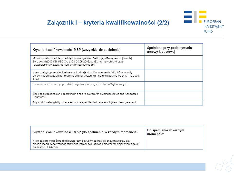 Załącznik I – kryteria kwalifikowalności (2/2) Kryteria kwalifikowalności MŚP (wszystkie do spełnienia) Spełnione przy podpisywaniu umowy kredytowej M